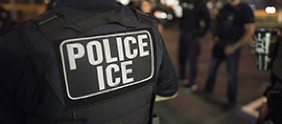 Immigrations and Customs Enforcement officers during an arrest this month in New York City. Privately run ICE detention centers for migrants came under scrutiny by a House panel Monday, which asked whether the contractors have done enough to protect detainees and employees from COVID-19. (Photou courtesy Immigrations and Customs Enforcement)